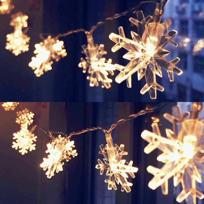 2 colors acrylic snowflake led light decoration for home waterproof led snowflake shaped decorating string lights for outdoor christmas wedding party decorations aloadofball Gallery