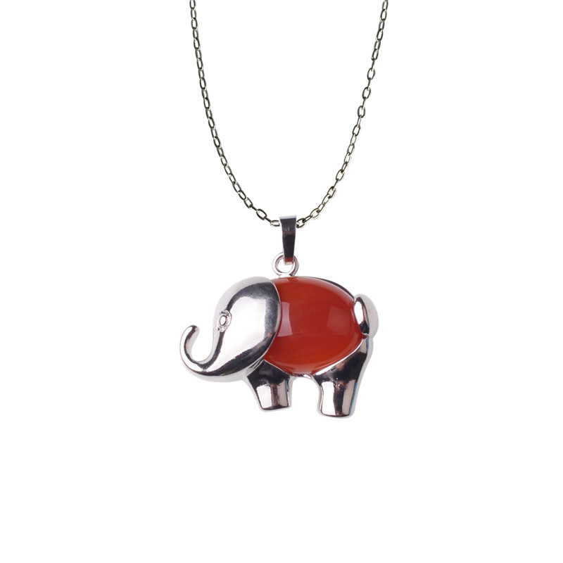 2847e7b90ccb Pink Elephant Necklace Choker Jewellery Natural Stone Womens Boho Bohemian  Fashion Unique Handmade Present Gift-in Pendants from Jewelry   Accessories  on ...