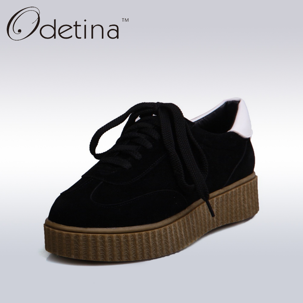 Odetina 2017 Spring New Womens Creepers Shoes Outdoor Casual Women Trainers Black Classic Round Toe Lace Up Platform Flats new spring women casual platform shoes lace up round toe black pink white casual shoes women comfortble ladies shoes size 33 43