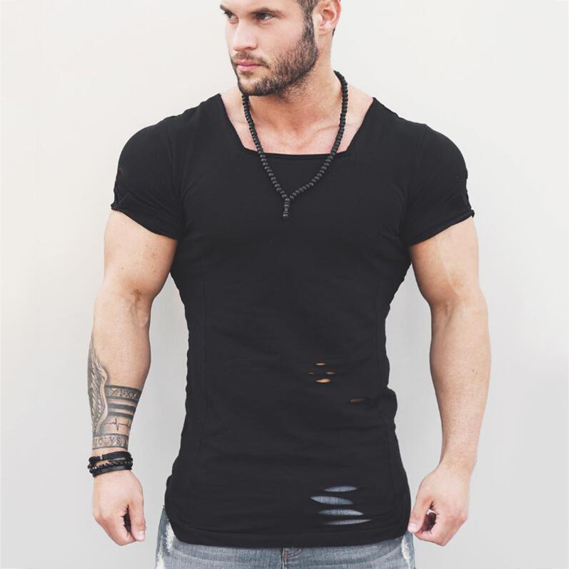 Muscleguys Brand 2018 New Fashion Solid   T     Shirt   Mens Hip Hop Extend   T     Shirt   Men Ripped Destroy Hole Cotton Fitness   T     shirt   Homme