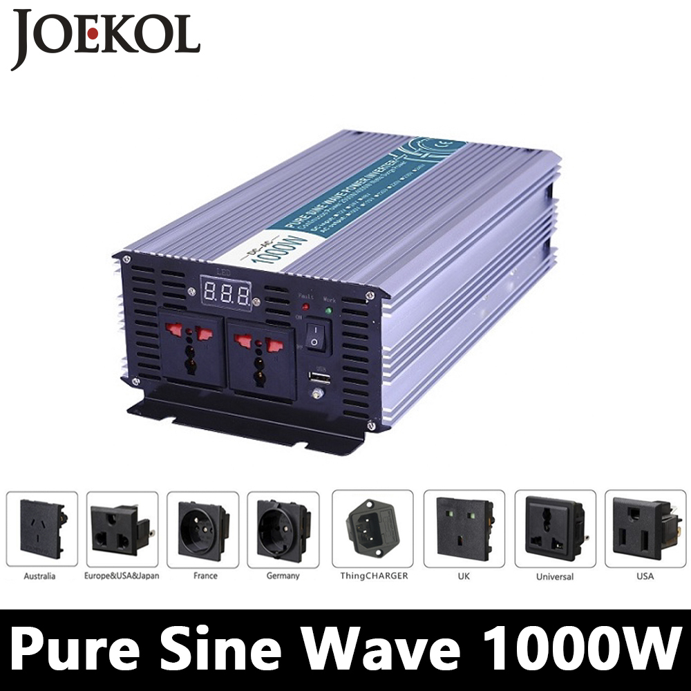 1000W Pure Sine Wave Inverter,DC 12V/24V/48V To AC 110V/220V,off Grid Power Inverter,solar Inverter,voltage Converter For Home 1kw solar grid tie inverter 12v dc to ac 230v pure sine wave power pv converter