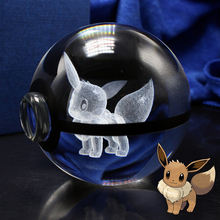 New 80mm 3D Laser Pokemon Go ball Crystal Eevee Sculpture Ball With Led Light Base for Cartoon Souvenirs children Christmas gift