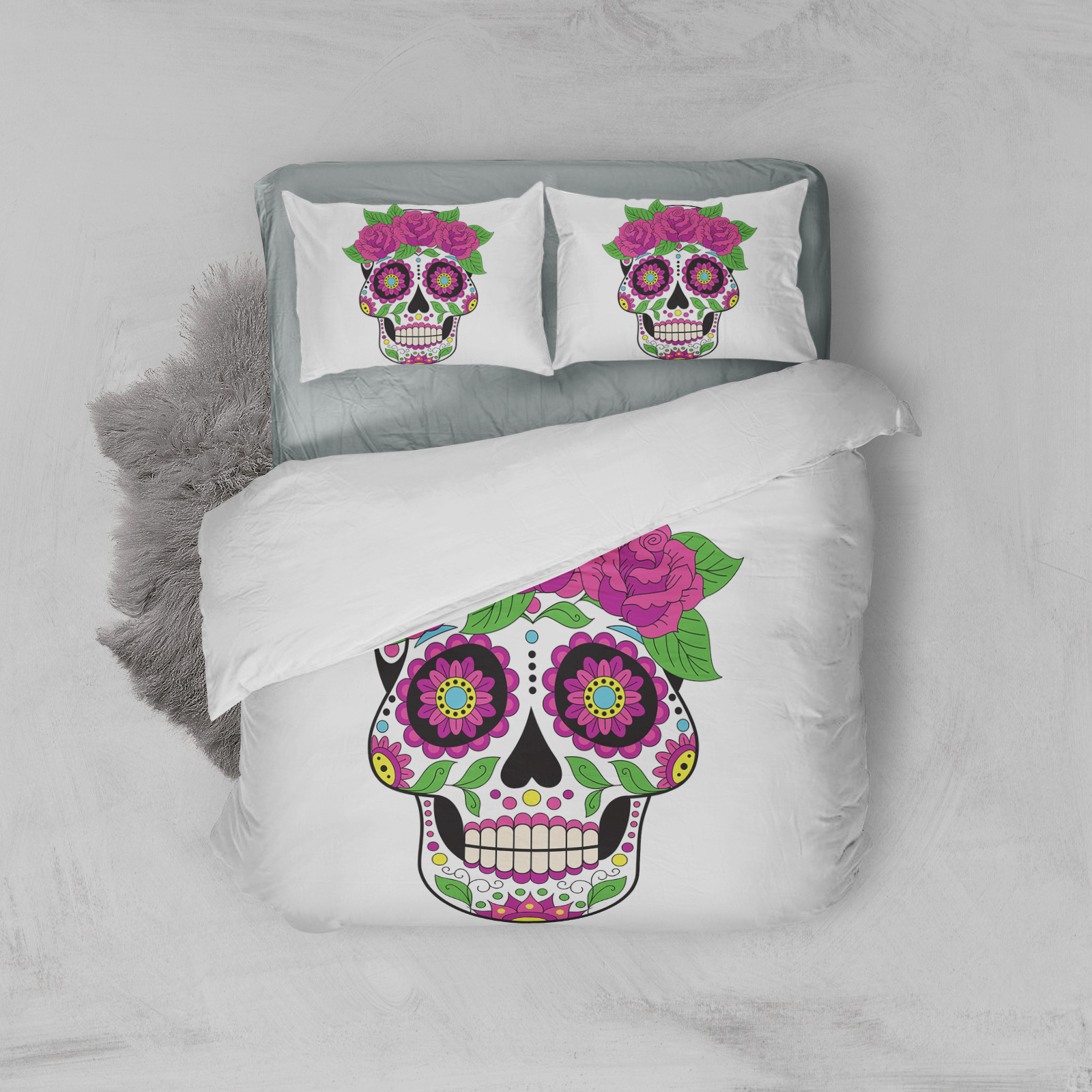 Flame Skull Bedding Set King 3D Printed Duvet Cover Blue Fire Bedclothes 3pcs Fashion Home Textiles for Boys in Bedding Sets from Home Garden