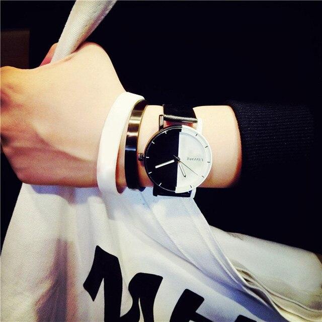 Men Women Students Watch Fashion Minimalist Style Black White Leather Belt Analog Quartz Wrist Couple Watches relogio masculino