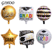 50pcs 18inch Graduation Round Ballons 2019 Congrats Foil Balloons Party Supplies Decoration Gift Happy Globos Back To School