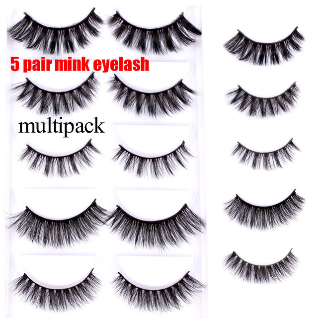 8429c661be6 5 Pairs Mix 3d mink lashes natural false eyelashes thick long black mink  eyelashes soft makeup