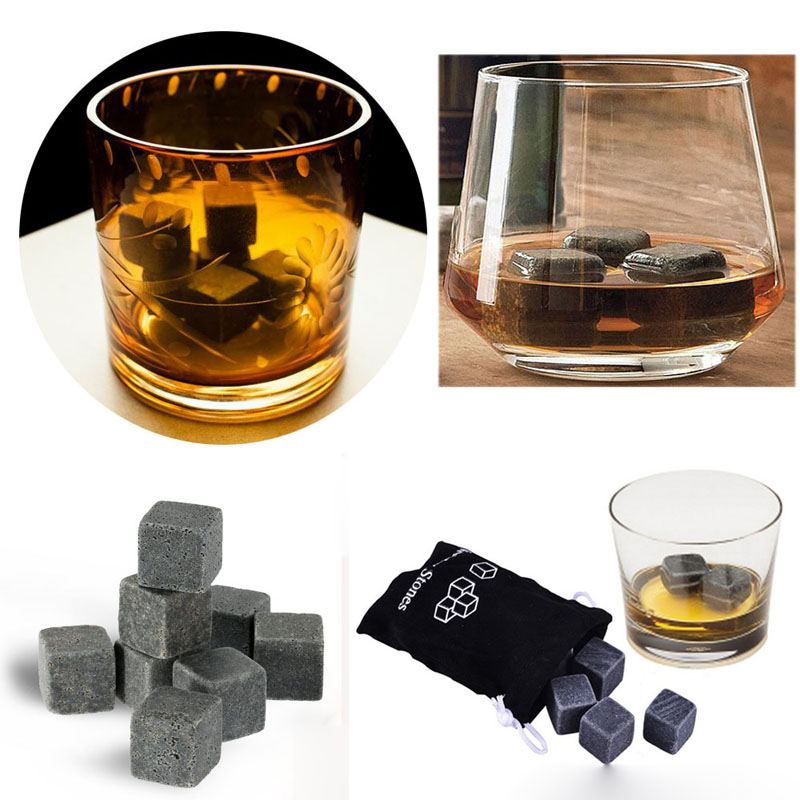 High Quality Natural Whiskey Stones 9pcs/set Whisky Stones Cooler Whisky Rock Soapstone Ice Cube With Velvet Storage Pouch