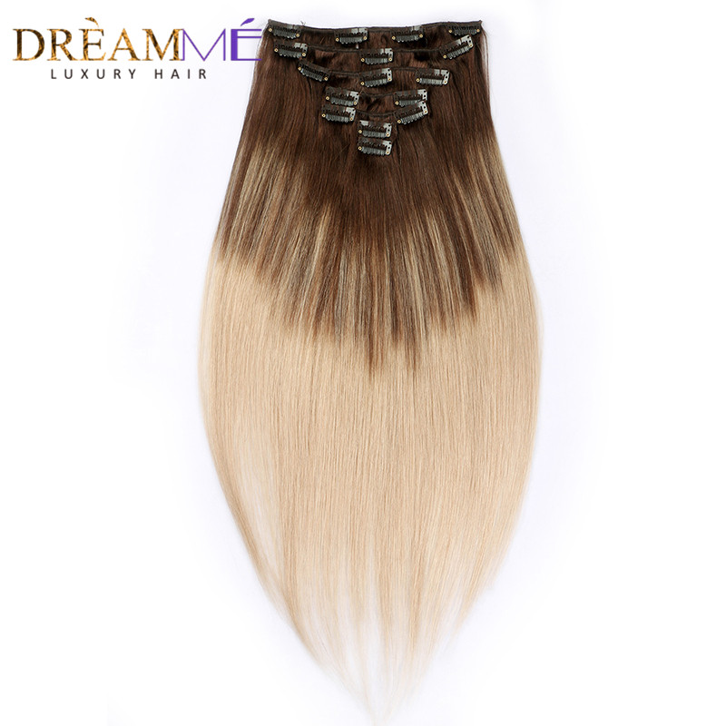 Dreaming Queen Clip In Straight Hair Extensions 100% Brazilian Human Hair 7 Pieces/Set 16 Clips 4/18 Piano Machine Made Remy