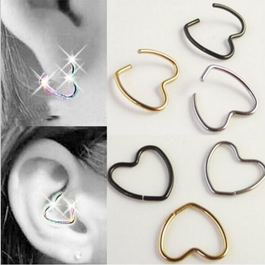 3 Pieces Free Shipping Stainless Steel Heart Earring Nose Ring Tragus Piercing Nipple La ...