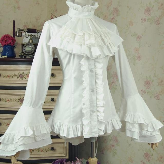 Discount Custom Made Vintage Victorian Medieval Style: Aliexpress.com : Buy Spring Women White Shirt Vintage