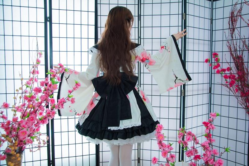 Shanghai histoire coton fleur impression dentelle bord Kimono Yukata robe de chambre Anime Lolita ensembles Meidofuku uniforme tenue - 2