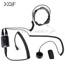 Professional Military Police FBI Throat Microphone Covert Acoustic Tube Earpiece Headset 2pin for Icom Maxon Yaesu Vertex Radio