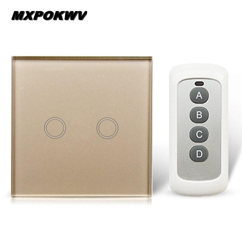 UK/EU 2 Gang 1 way Touch Switch Intelligent Universal Switchs