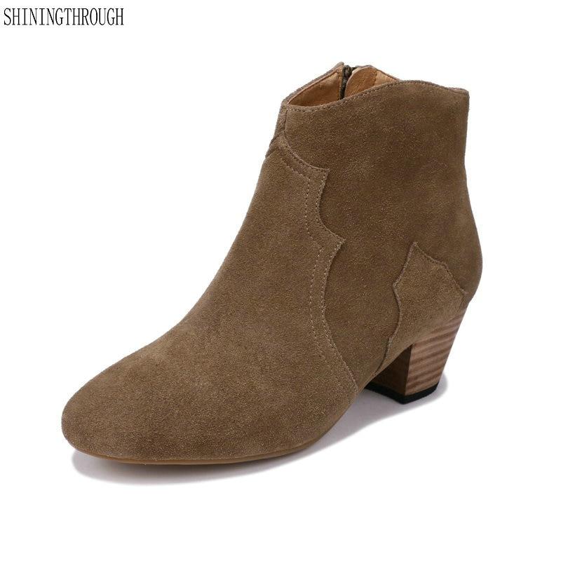 2019 botas de tacón alto de cuero de gamuza para mujer zapatos de trabajo de mujer botas de tobillo de moda Zapatos de vestir de Mujer talla grande 43-in Botas hasta el tobillo from zapatos    1