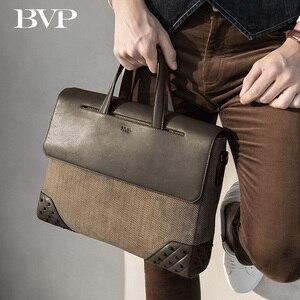 Высококачественный деловой мужской портфель BVP из натуральной кожи, портативный портфель для ноутбука 14 дюймов, сумка на одно плечо из коро...