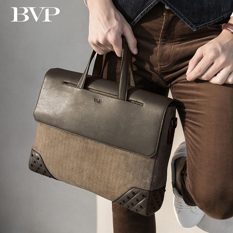 "High Quality Famous BVP Brand Genuine Leather Business Men 14"" Laptop Portable Briefcase Cow leather Single Shoulder bag J50"