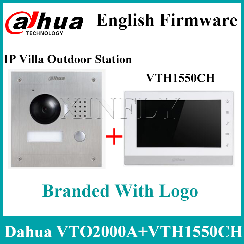 Dahua VTH1550CH 7 Inch IP Kit VTO2000A 2-Door Control Remote Intercom With Mobile APP With Logo Upgrade From VTH1510CH VTH1660CH