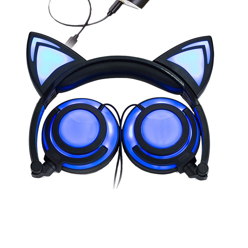 Foldable Flashing Glowing Cat Ear Headphones Cute Gaming Headset Earphone with LED light For PC Laptop Computer Smartphone ...