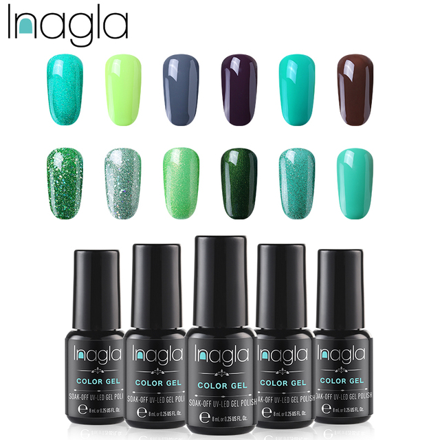 605c9d2ffe40 Inagla 8ML Long Lasting Gel Nail Polish supply 37 Colors Soak Off UV LED  Gel Varnish Coat Color Polish Gel Green Series Lacquer