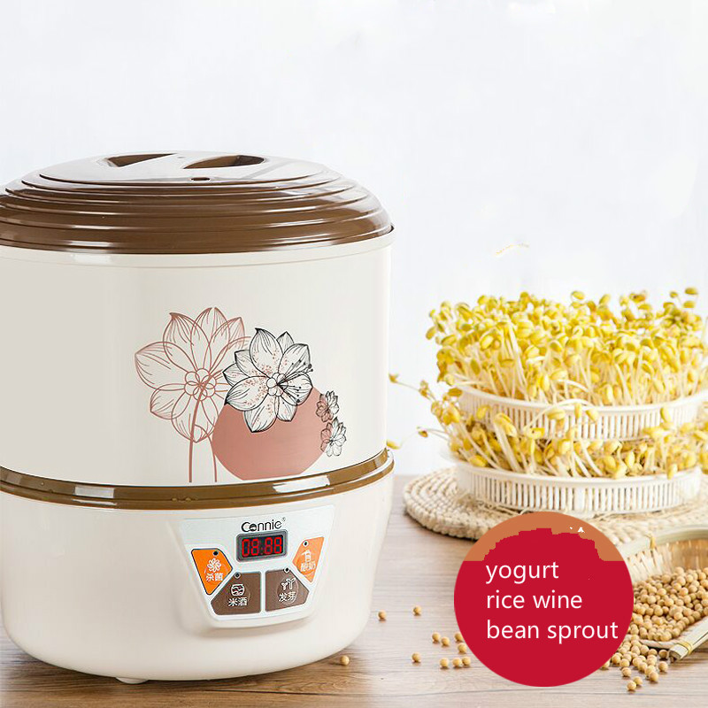 Household Automatic Multi Bean Sprout Machine Rice Wine Yogurt Maker Machine Large Capacity Thermostat Seeds Growing Machine bear three layers of bean sprouts machine intelligent bean sprout tooth machine dyj b03t1