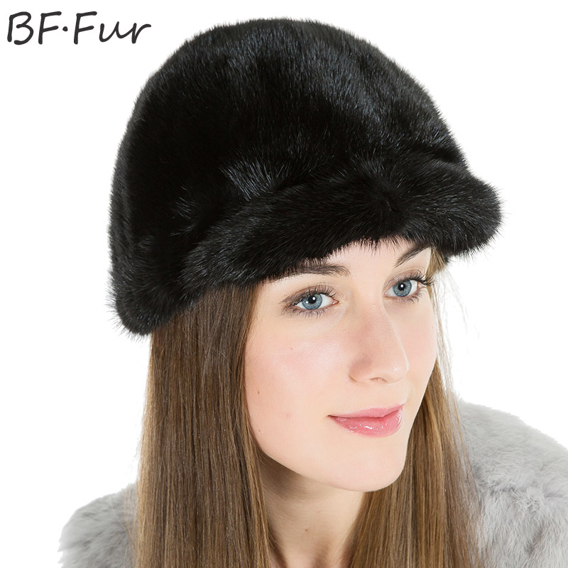 Winter Style Warm Beanies For Women's Real Mink Fur Hats Girls Casual Solid Animal Fur Cap Female Black Knitted Cotton Bonnet russian real mink fur hat for female animal fur winter warm beanies fashion solid color cap natural color bonnet girls hats