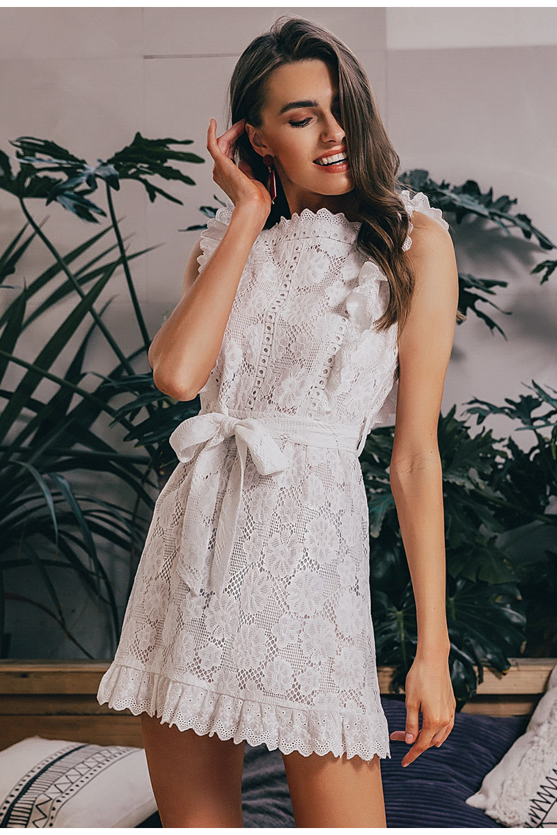 Simplee Elegant embroidery lace women dress Hollow out sashes ruffle white summer dress Slim sexy party lady dress vestidos 2019