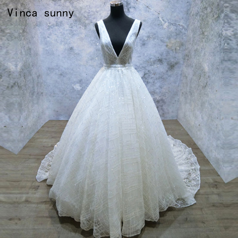 vinca sunny  2018 Vestido de Noiva A line lace wedding dress sexy deep v neck lace wedding gown custom made  bridal dress