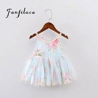 Fanfiluca Girls Clothing Summer Girl Dress Children Kids Flower Dress V Neck Dress Girls Children Clothes