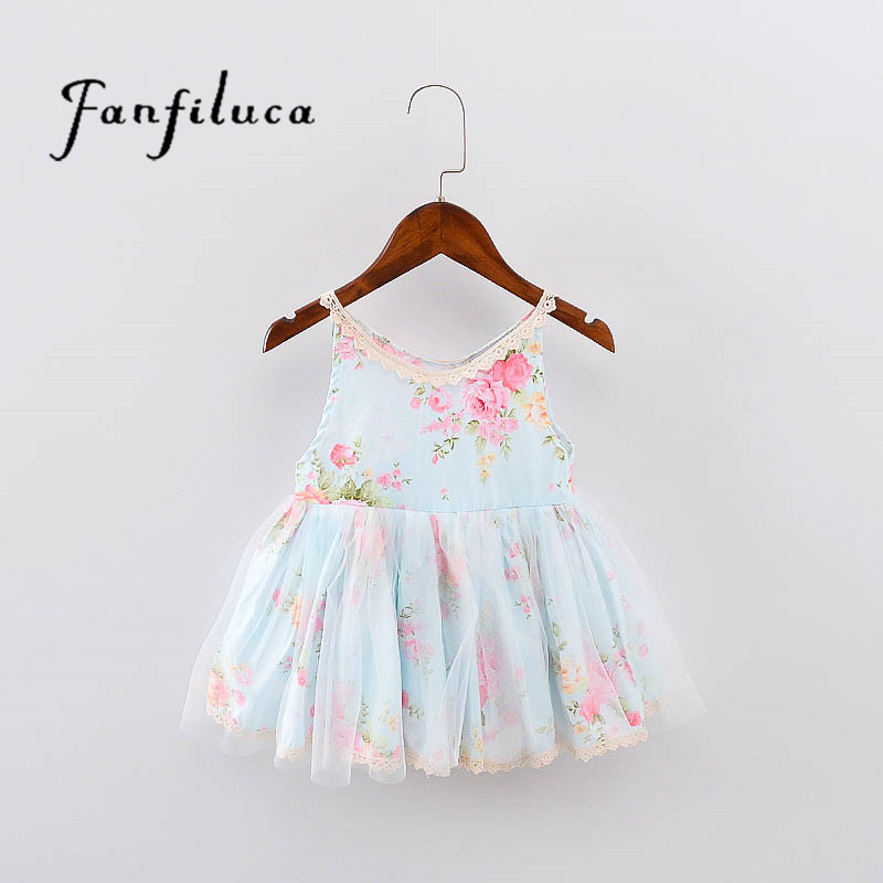 Fanfiluca  Girls Clothing Summer Girl Dress Children Kids Flower Dress V-neck Dress Girls  Children Clothes