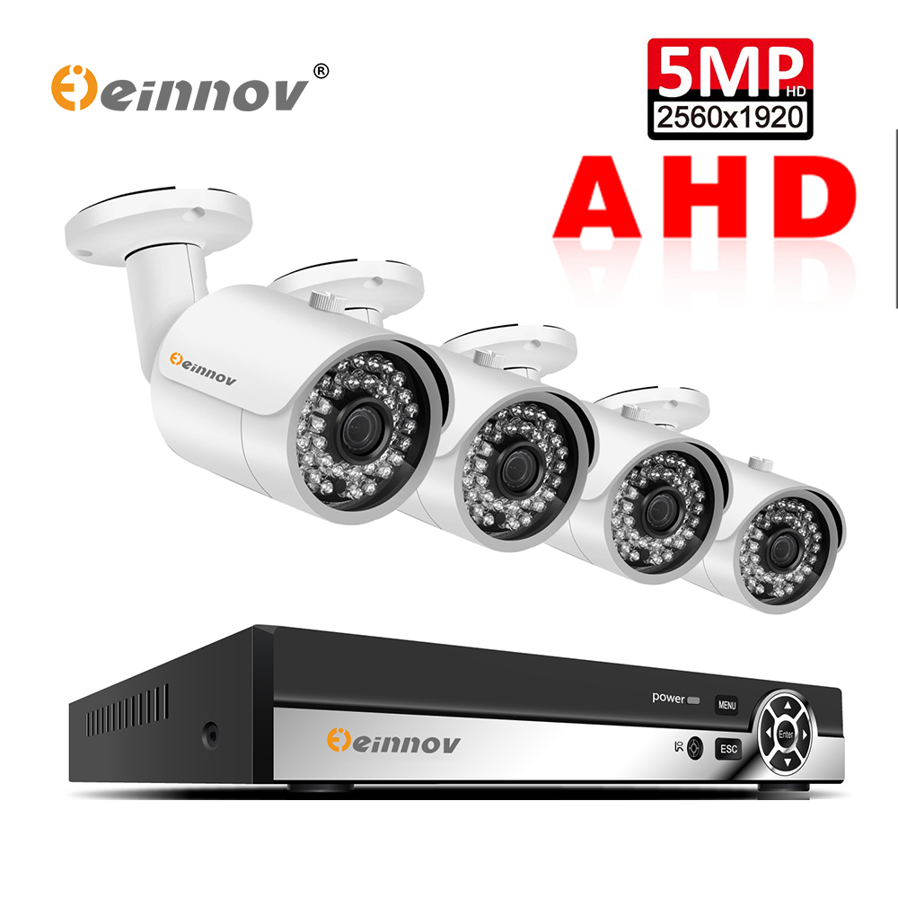 Einnov CCTV kamera System 4CH 5MP AHD sicherheit Kamera DVR Kit CCTV wasserdichte Outdoor home Video Surveillance System 2TB HDD