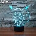 NUEVA JUNTA Ir Sylveon Eevee Pokemon 7 Color 3D Lámpara de Mega USB Toque lámpara De Mesa de Luces de La Noche 3D 3D Visual Nocturna Centellante Para Regalos de Los Niños
