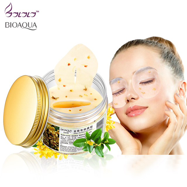 80 pcs/ bottle BIOAQUA Gold Osmanthus eye mask women Collagen gel whey protein face care sleep patches health mascaras de dormir 2