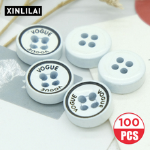 100pcs White Resin Solid Pattern Buttons High Grade Wooden Handmade Round Four Holes flat Support Wholesale
