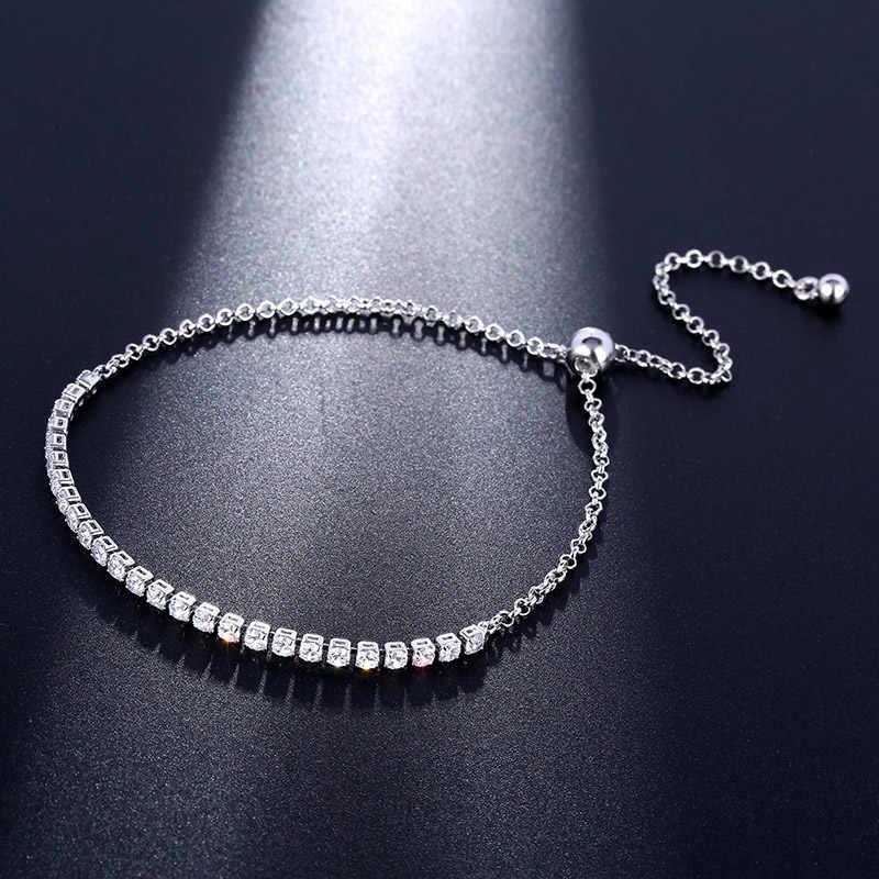 CARSINEL luksusowe bransoletki dla kobiet różowe złoto kolor biały aaa sześcienne cyrkon biżuteria ślubna dla kobiet sprzedaż hurtowa BR0070