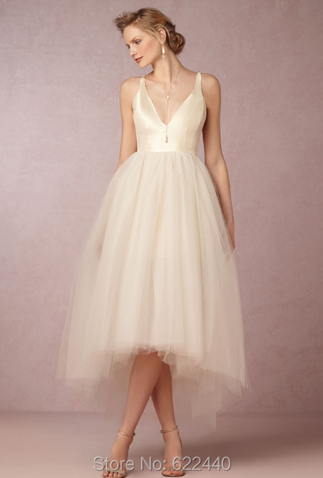 Online Shop Sexy V Neck Tulle A Line High Low Wedding Dresses Ankle Length Gowns Short Front Long Back Bridal Gown