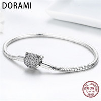 DORAMI Cat CZ Snake Strand Chain Bracelets for Women Pure 925 Sterling Silver Fit Pandoras charm DIY Jewelry Has logo S925
