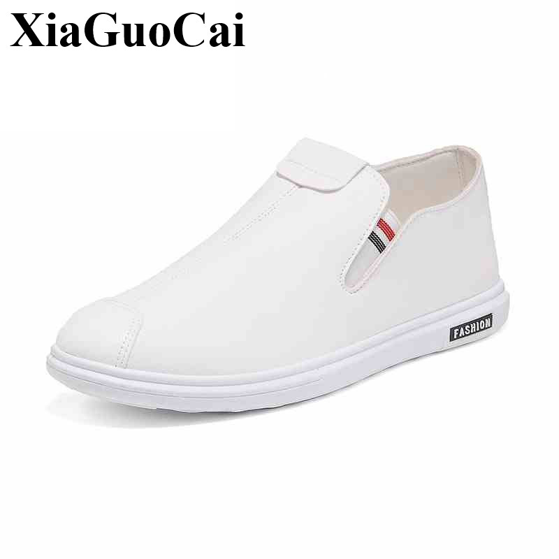 New Fashion Casual Shoes Men Loafers Leisure Slip-on Breathable Comfortable Flats Shoes White Black Soft Driving Shoes H497 35 apple summer new arrival men s light mesh sports running shoes breathable fly knit leisure comfortable slip on sneakers ap9001