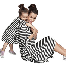 2018 Family Matching Mother Daughter Dresses Clothes Black And White Striped Mom And Daughter Dress Kids Parent Child Outfits