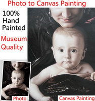 Hand painted Custom Portrait oil painting from pictures turn photo into canvas Oil painting unique gift for wife baby lover