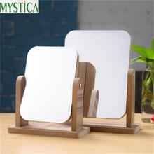 ФОТО new 360 free rotating makeup mirror wooden bathroom accessories desktop decoration high clear standing cosmetic dresser mirror