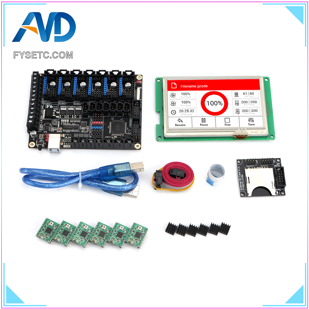 """FYSETC F6 V1.3 ALL-in-one Mainboard + 4.3"""" Inch Touch Screen 4.3 Inch LCD With SD Read+ 6pcs A4988 Green Stepper Motor Driver"""