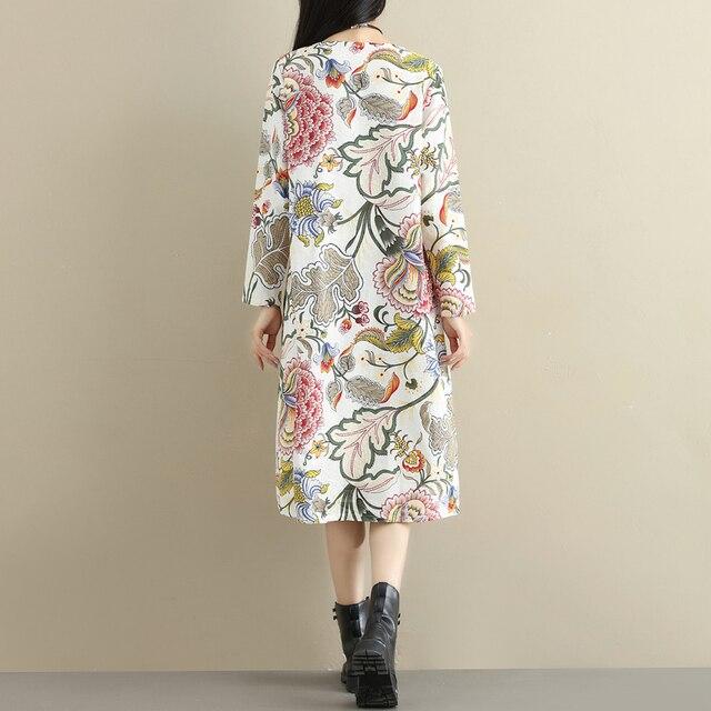 2021 Fashion Thicken Fleece Warn Winter Dress Print Floral Cotton Linen Vintage Spring Dress Women Casual Midi Dress Plus Size 6