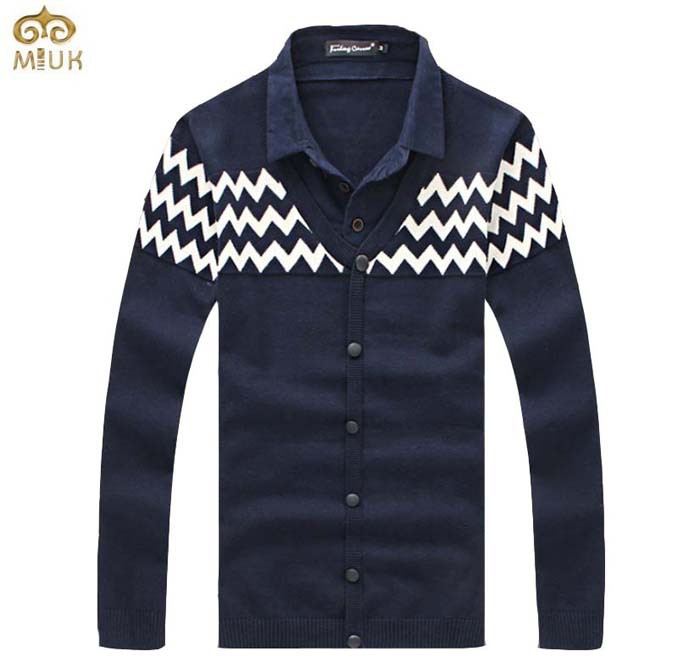MIUK Turn-down Collar Patchwork Men Sweater Cotton Striped Printing Buttons Design Men Pullover Sweaters Thick XXL 3XL Wine Red