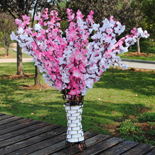 Vivid Artificial Cherry Spring Plum Peach Blossom Branch Silk Artificial Flower Tree Decor for Home Office Decoration white pink