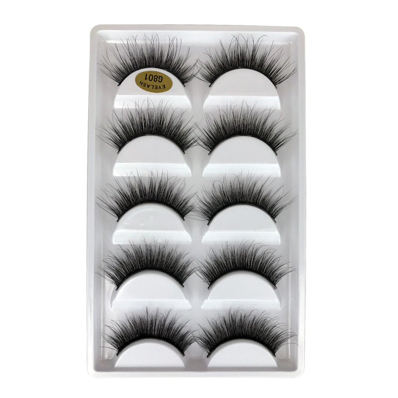 SHIDISHANGPIN 3d mink eyelashes full strip lashes makeup false eyelash natural long 3d mink lashes 1cm-1.5cm 5 pairs eyelashes