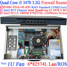 1U Barebone Firewall router pc with 6 Gigabit 82583v LAN Intel Quad Core i5 3470 3