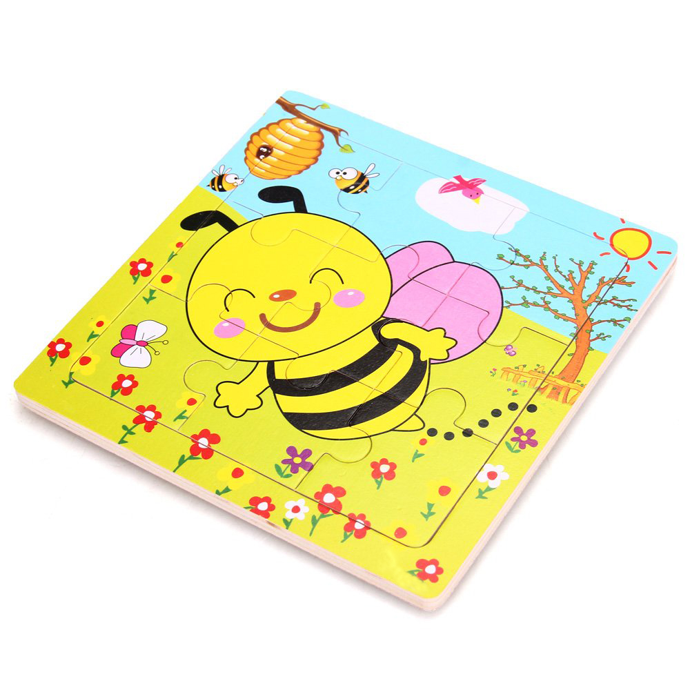 Puzzle games educational toy pattern bee wooden gift for child 9 parts