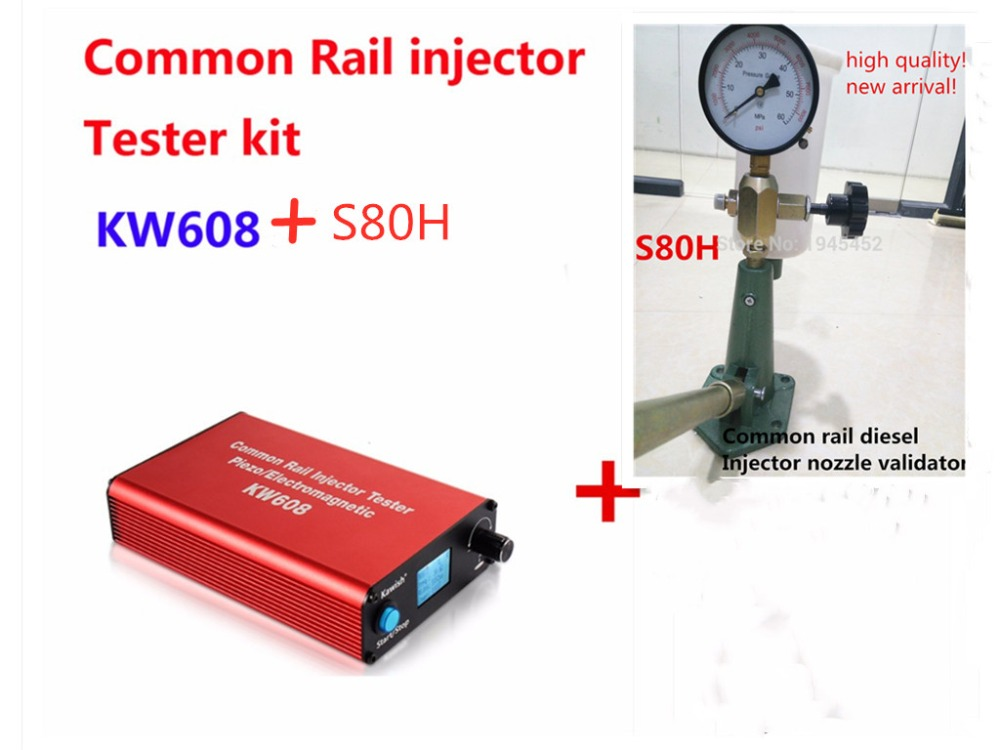 Common rail injector tester Kit KW608 multifunction diesel USB Injector tester +S80H Common Rail Injector Nozzle tester