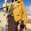 2017 de La Moda de Primavera de Las Mujeres Chaquetas de espesamiento del Faux de LA PU chaqueta de Cuero Amarillo rosa azul Colores Brillantes Cremallera del Diseño del Cortocircuito con bel