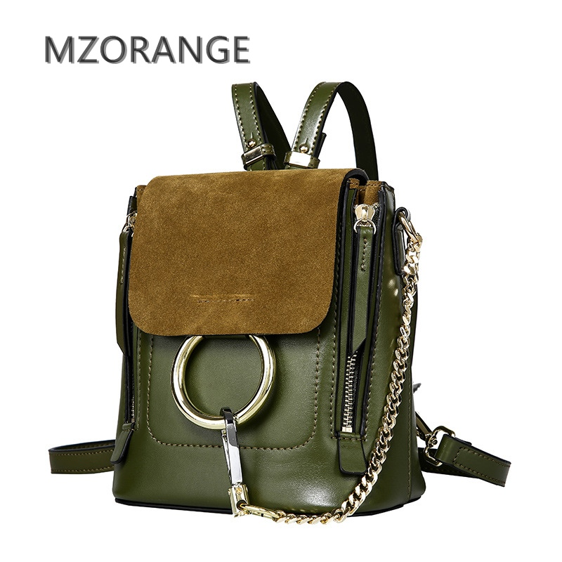 MZORANGE 2018 New genuine leather Women Cloe Backpack Fashion Brand Mini Shoulder Bag Vintage Suede double Ring Chain Lady bags 2018 new style genuine leather woman handbag vintage metal ring cloe shoulder bag ladies casual tote fashion chain crossbody bag